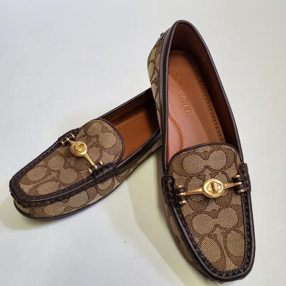 COACH Women/'s Flats Loafers Black Signature Jacquard Leather US Size 6,6.5,8,8.5